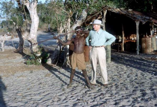 Supreme Court Justice William O. Douglas with an aboriginal man holding a spear in Australia in 1959.