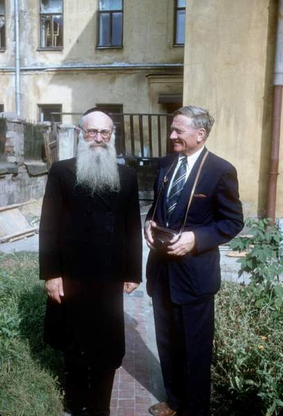 Supreme Court Justice William O. Douglas with a rabbi in Russia in 1955.