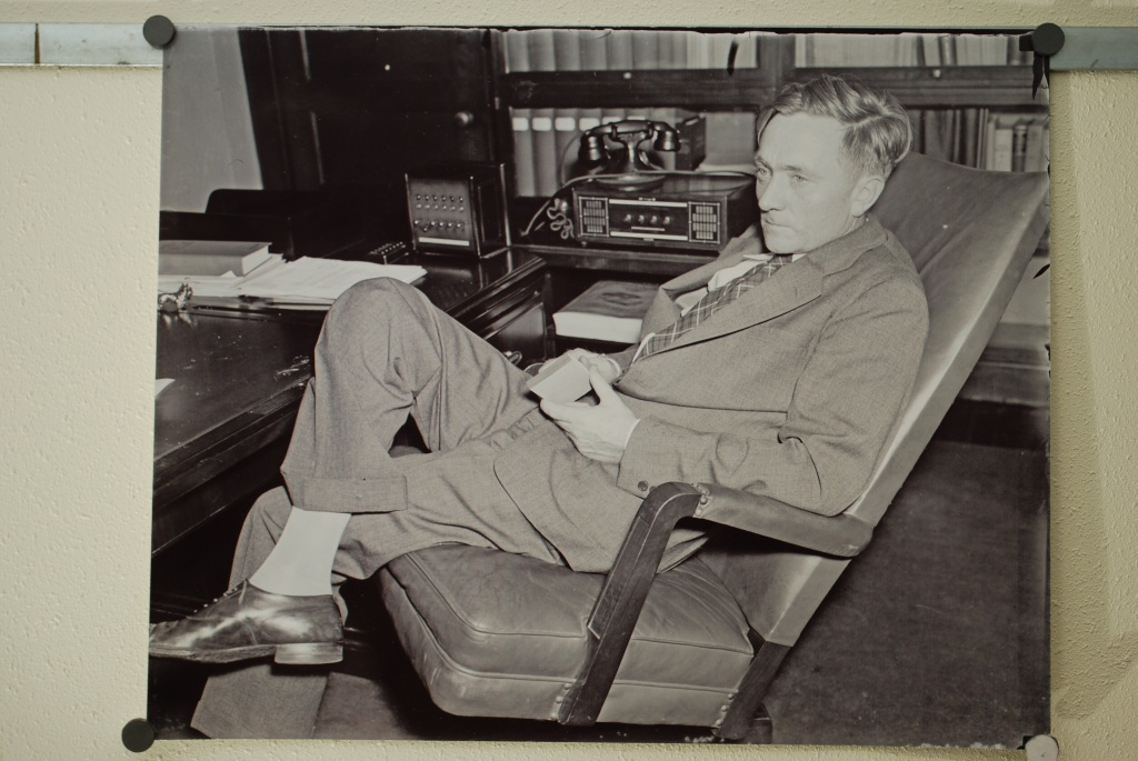 Young William O. Douglas in August, 1937 while SEC Chairman. Black and white.
